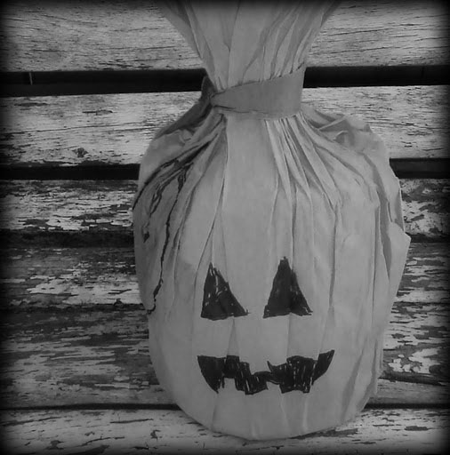Phot by Megan Moore. Completed Paper Bag Pumpkin